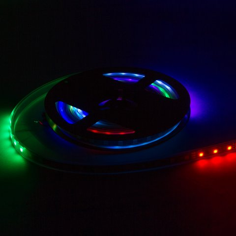 Світлодіодна стрічка RGB SMD5050, WS2811 (біла, з управлінням, IP65, 12 В, 60 діодів/м, 5 м) Прев'ю 2